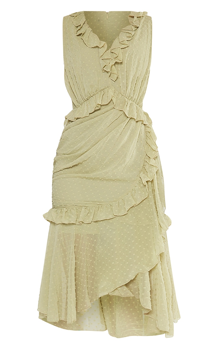 Olive Dobby Chiffon Plunge Frill Detail Midi Dress 5