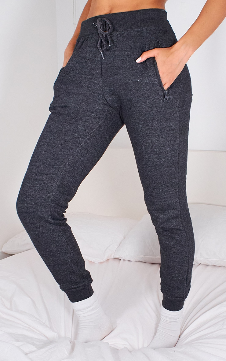 Charcoal Grey Zip Pocket Skinny Joggers 2
