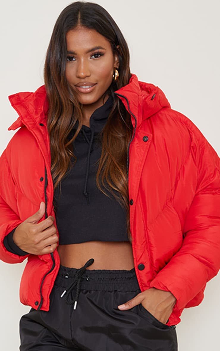 Red Nylon Oversized Curved Panel Wadded Puffer Jacket 3