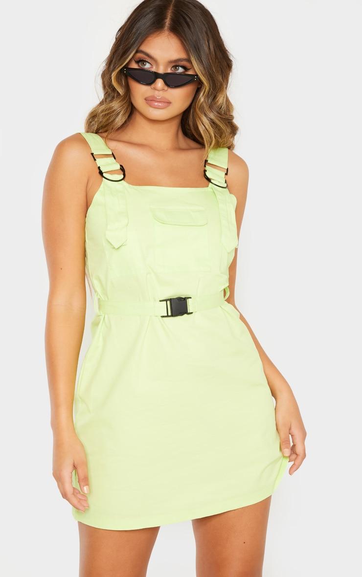 Lime Pocket Buckle Cargo Dress 1