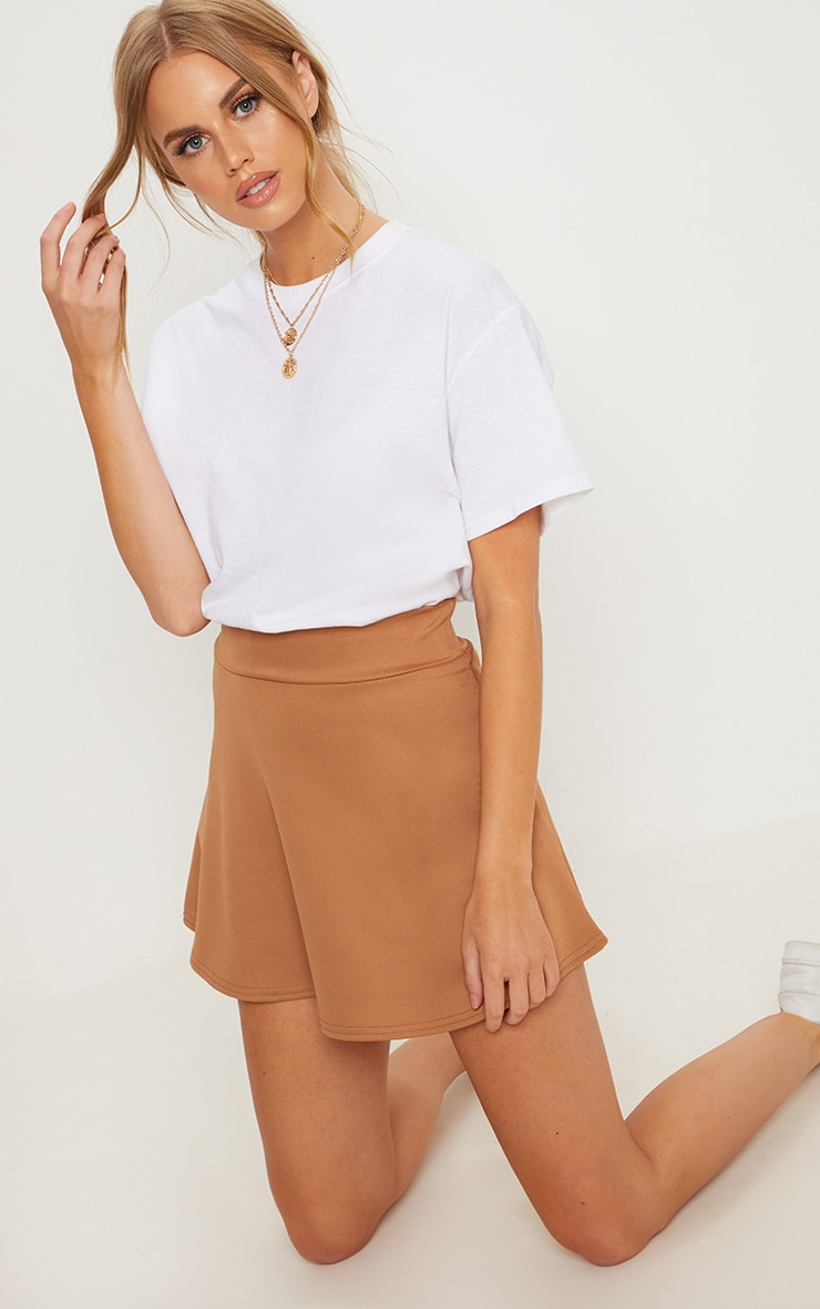 Camel Scuba Flippy Mini Skirt