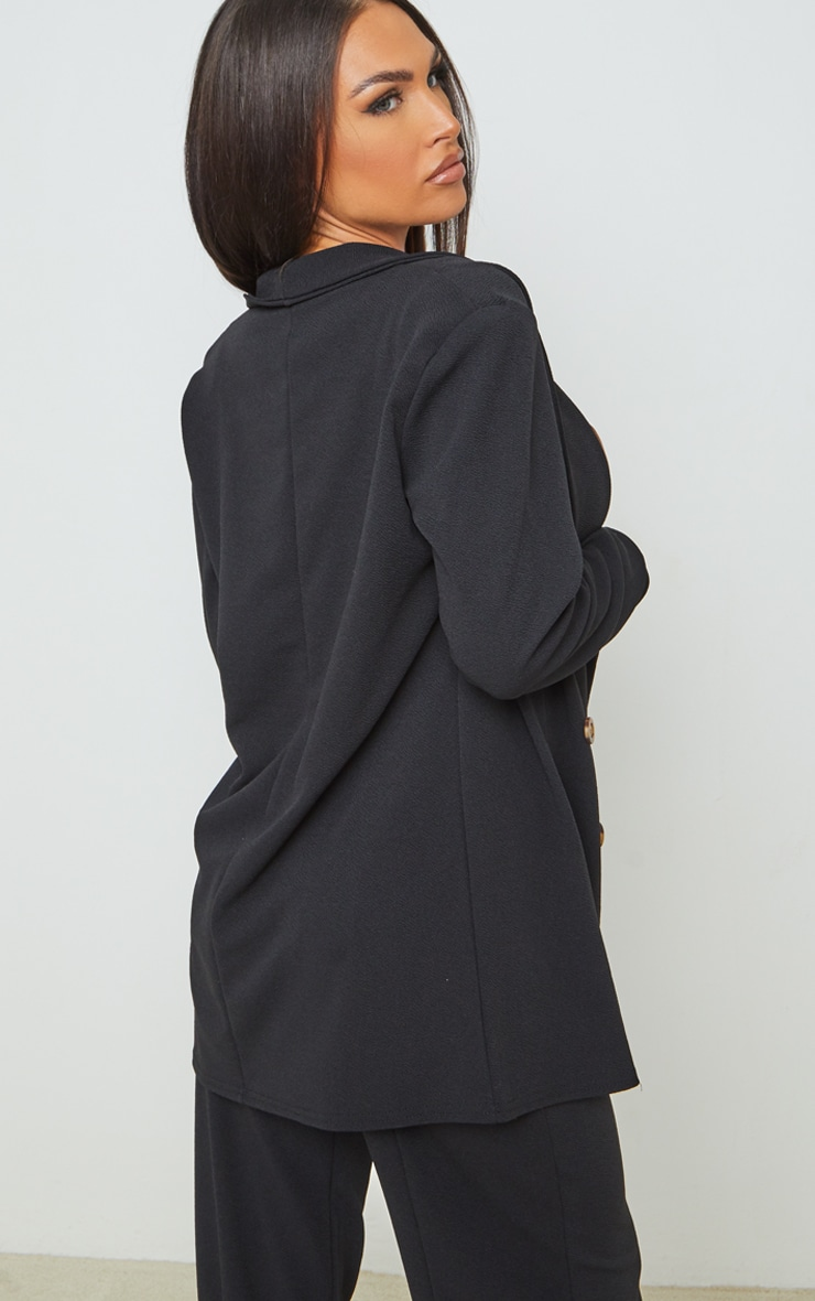 Black Oversized Shoulder Pad Button Detail Blazer 2