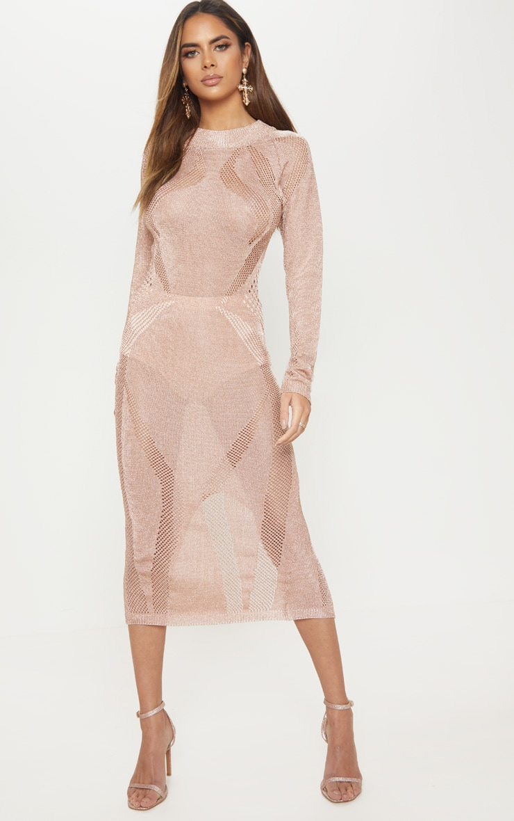 Rose Gold Metallic Midi Cut Out Dress