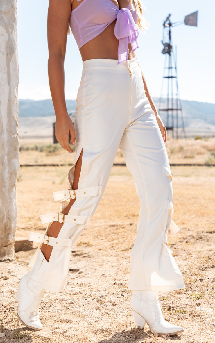 White Faux Leather Buckle Strap Detail Pants 2
