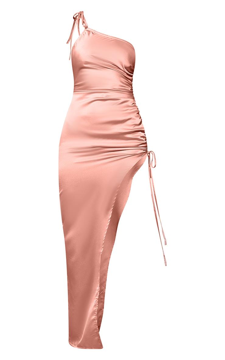 Coral Satin Asymmetric Side Split Maxi Dress 6