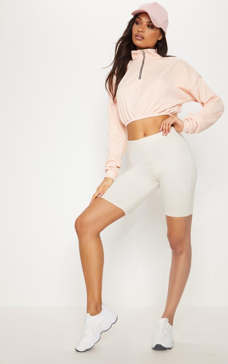 Peach Rib Zip Front Long Sleeve Sweater  4