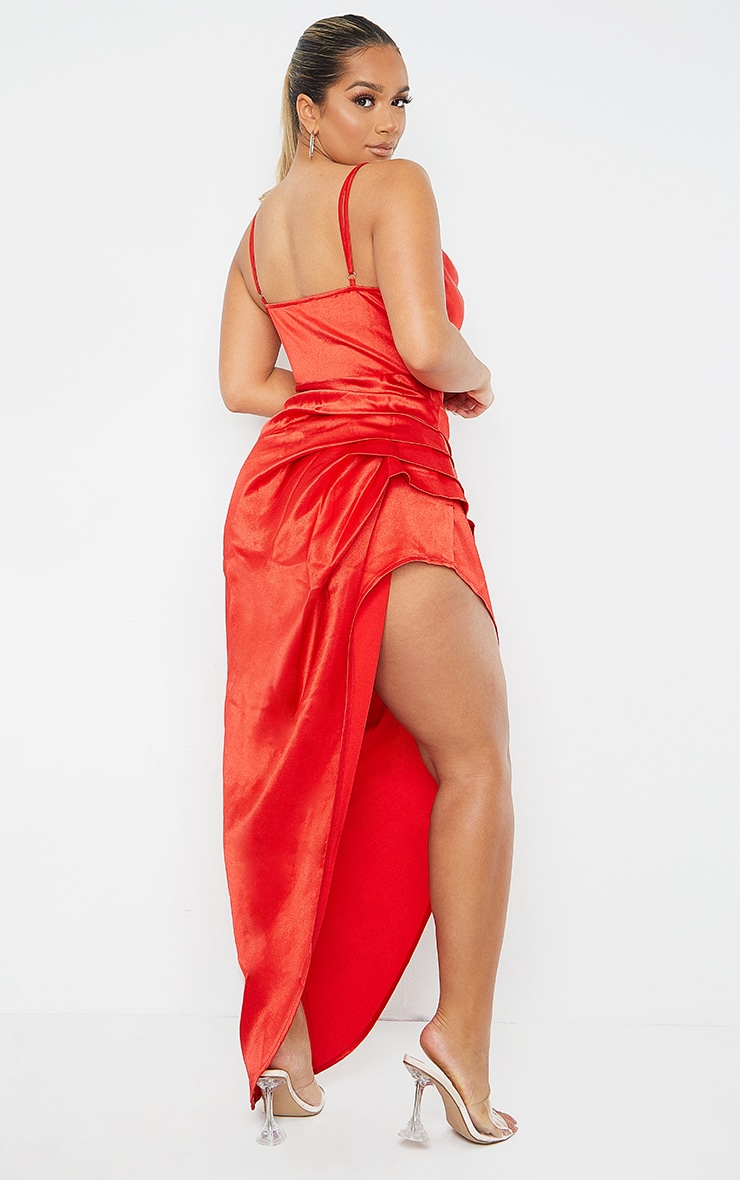 Shape Red Satin Cowl Side Split Ruched Maxi Dress 2