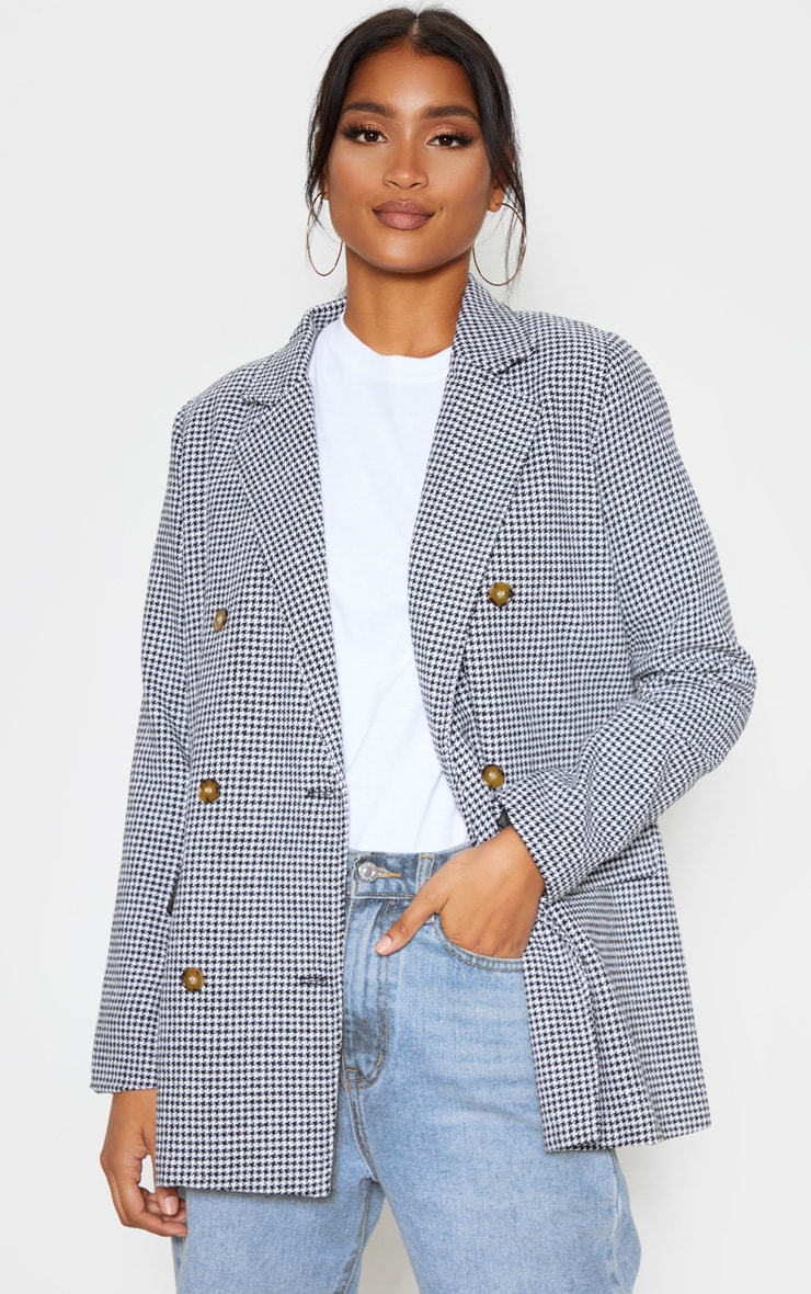 Black Check Print Woven Oversized Blazer 1