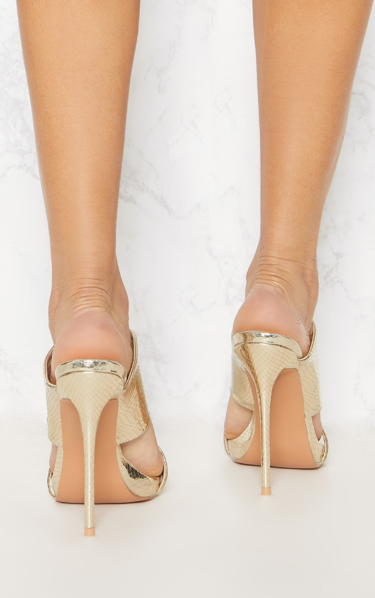 Gold Twin Strap Mule Sandal 4