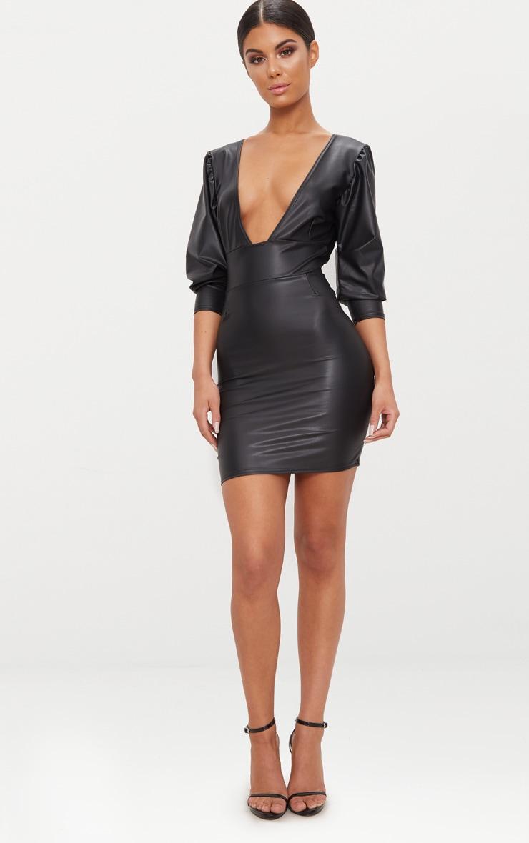 Black PU Long Sleeve Plunge Bodycon Dress 4