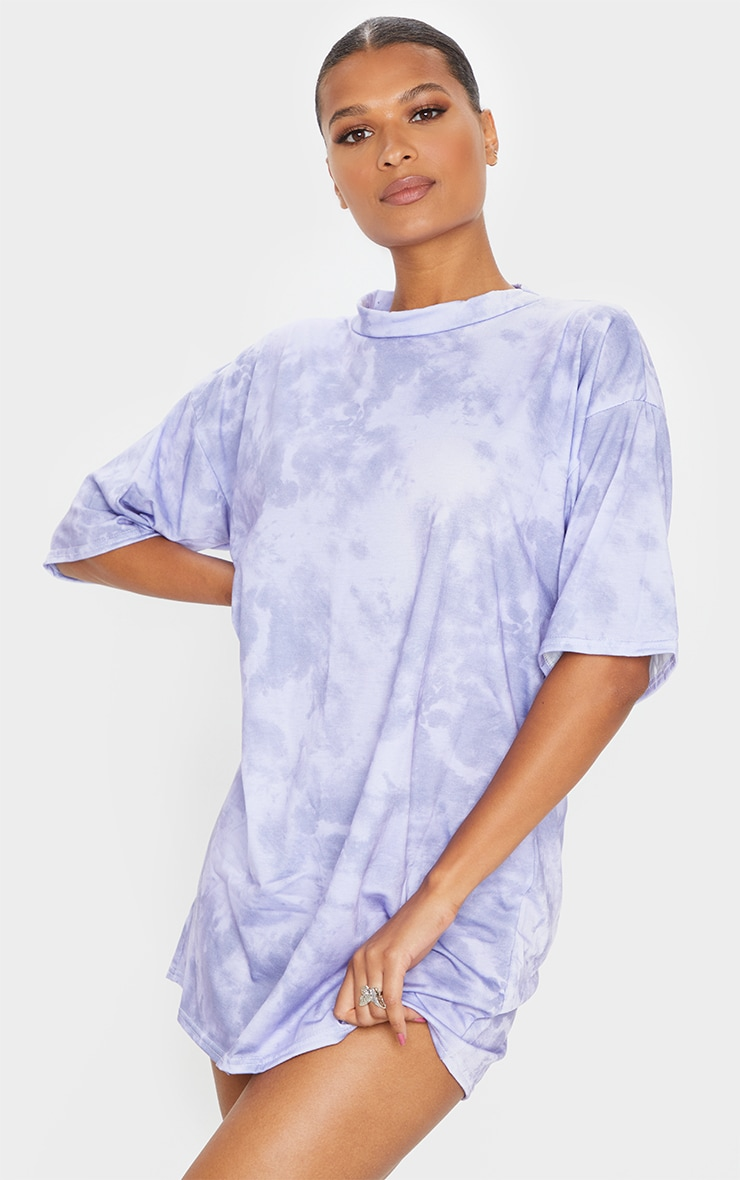 Lilac Tie Dye Oversized Boyfriend T Shirt Dress 1