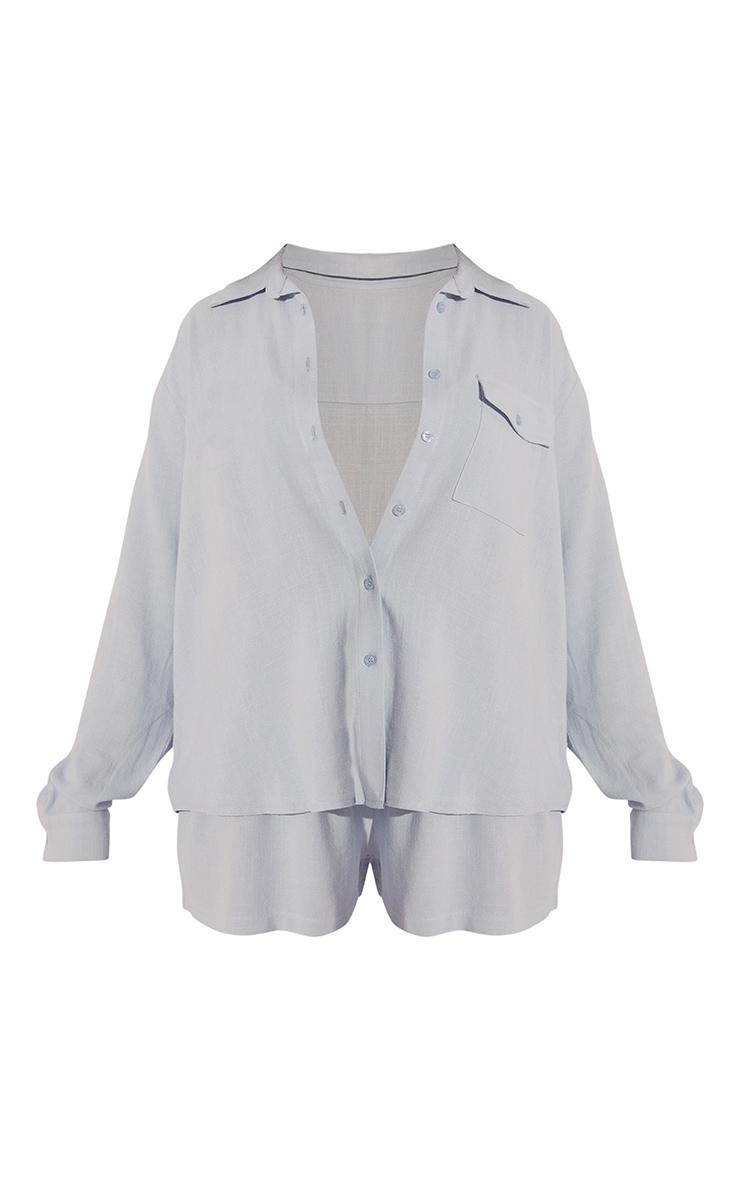 Baby Blue Oversized Long Sleeve Shirt With Pocket Short PJ Set 5