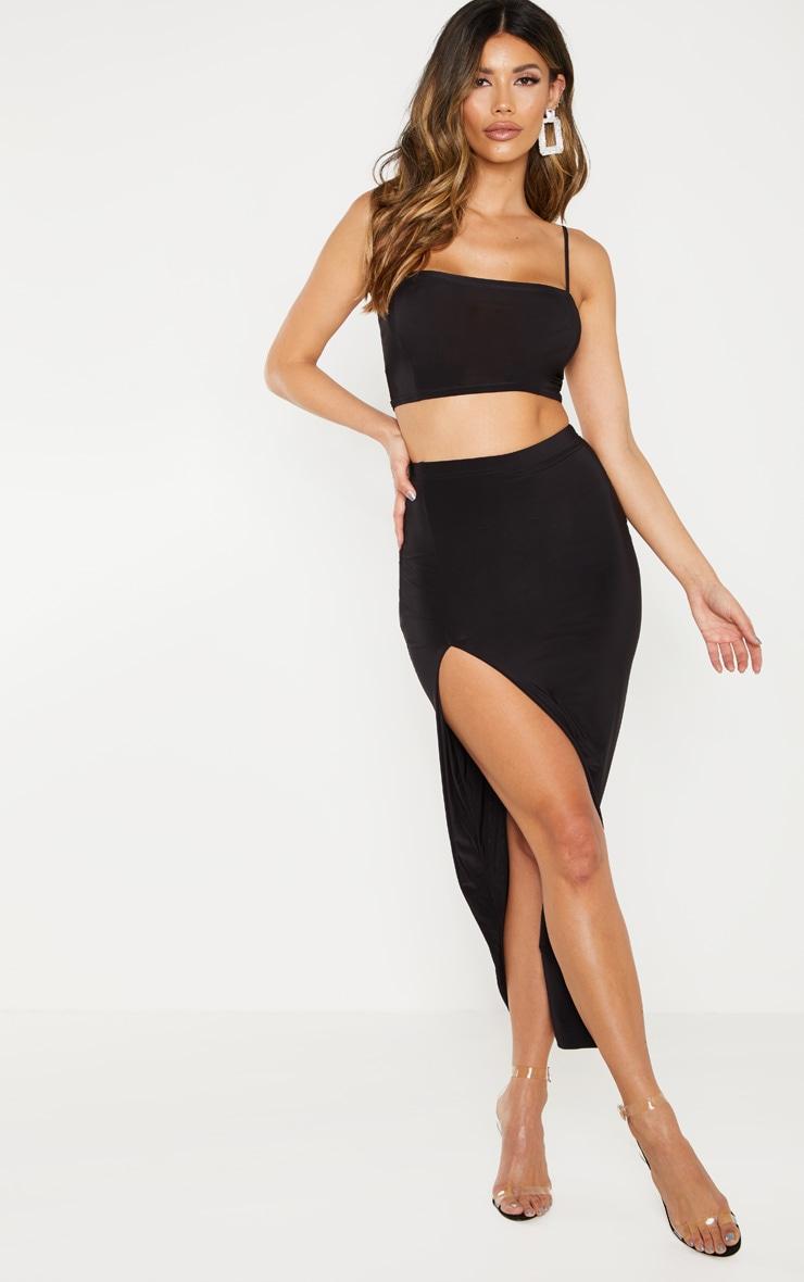 Black Slinky Midaxi Skirt 1