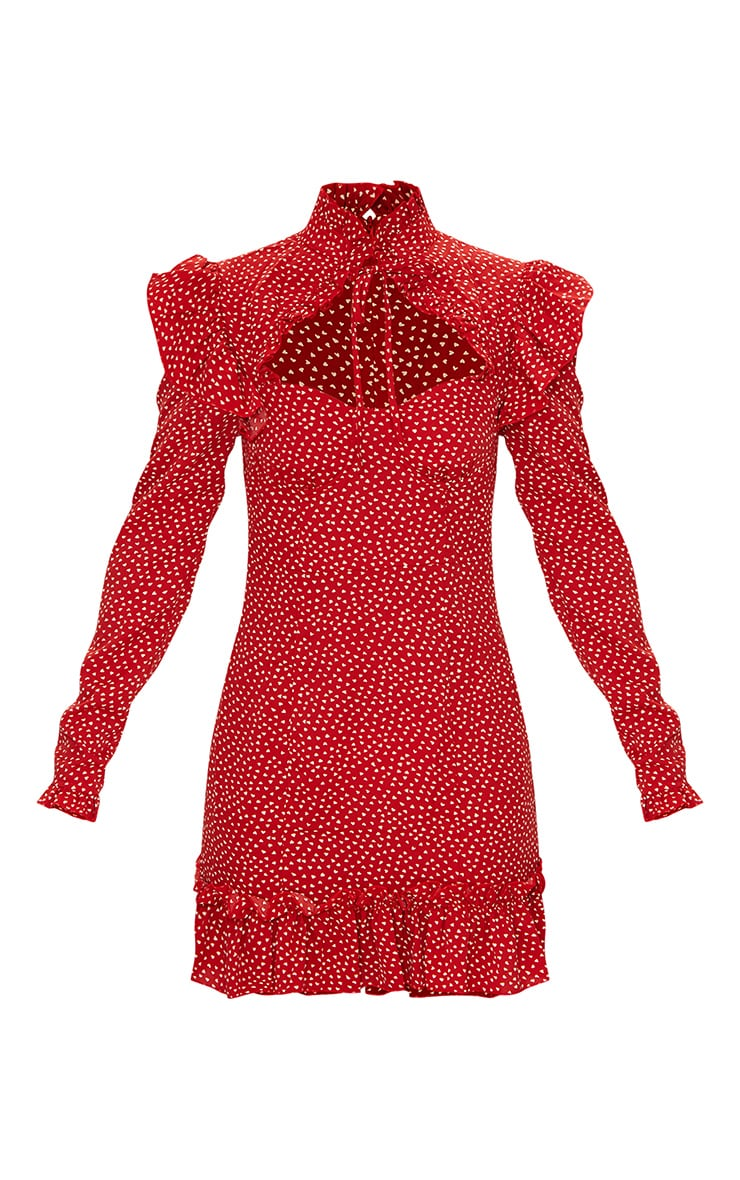 Red Heart Print Cup Frill Detail Bodycon Dress 5