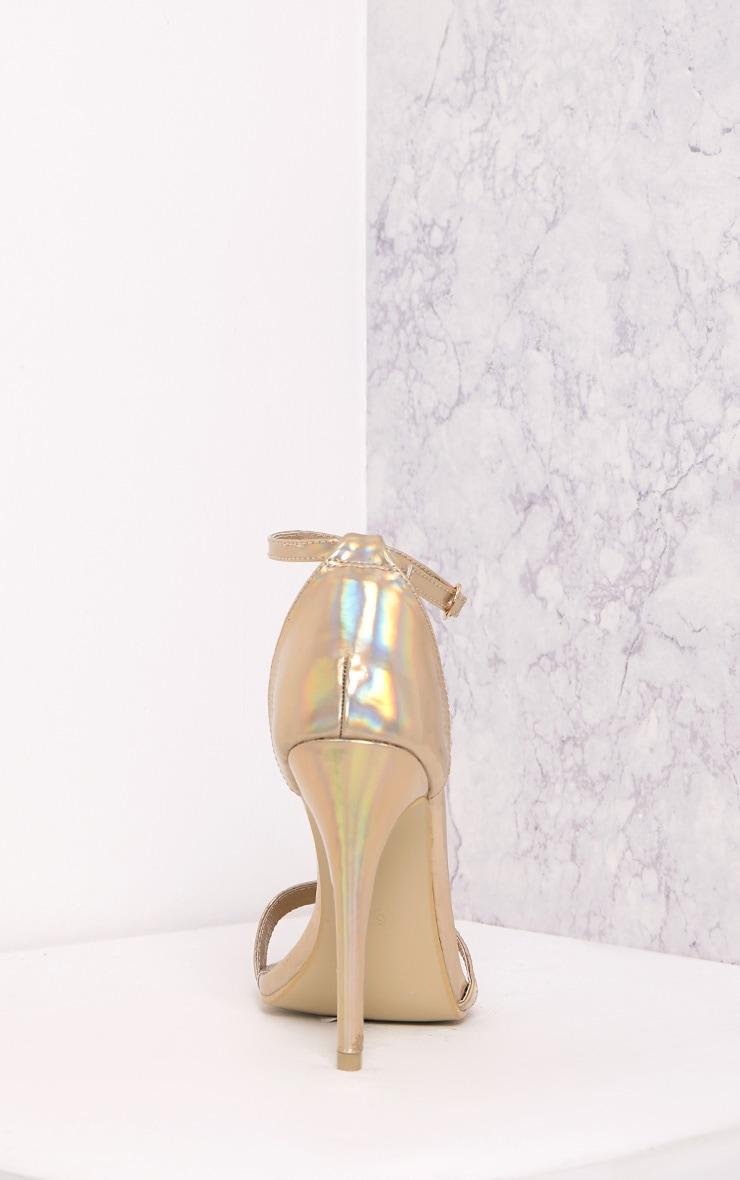 Clover sandales à talons à bride or holographique 4
