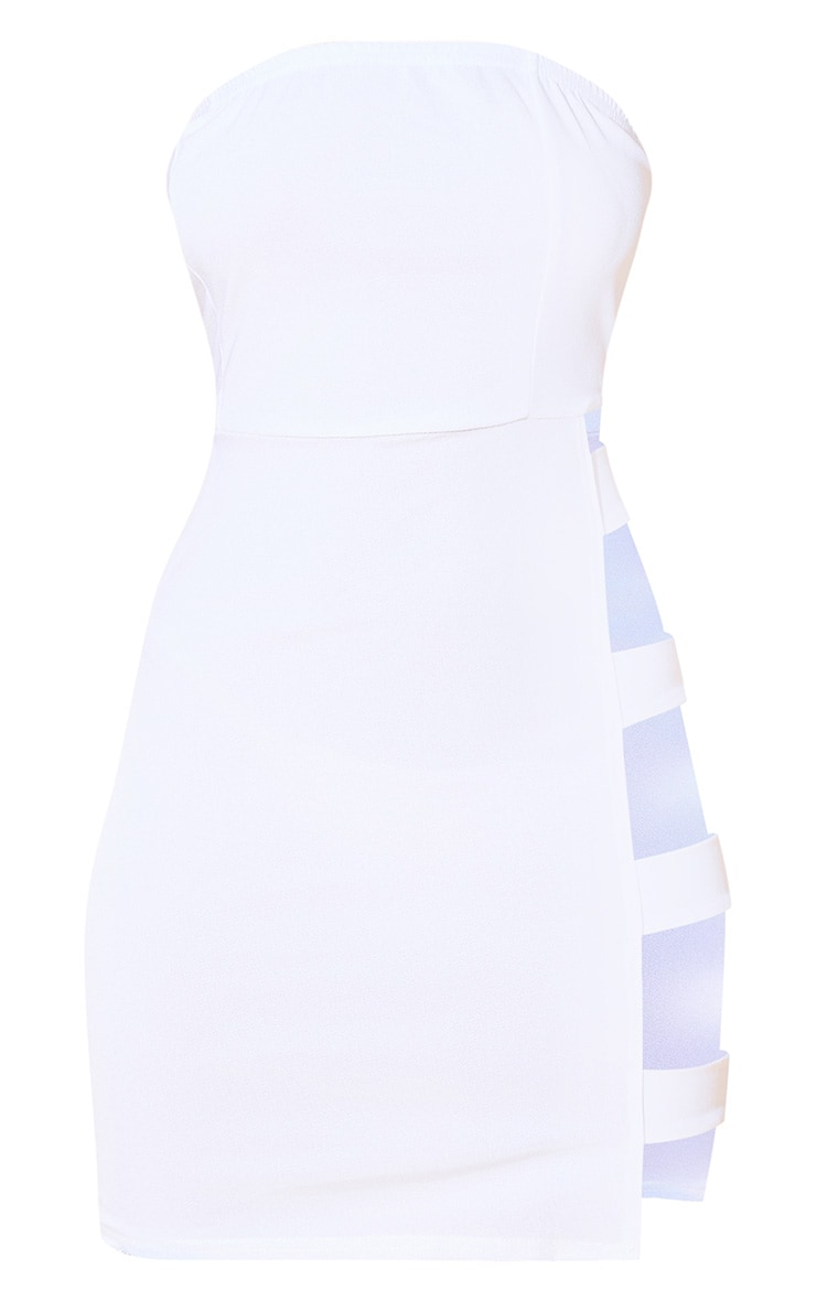 White Strappy Extreme Split Bodycon Dress 3