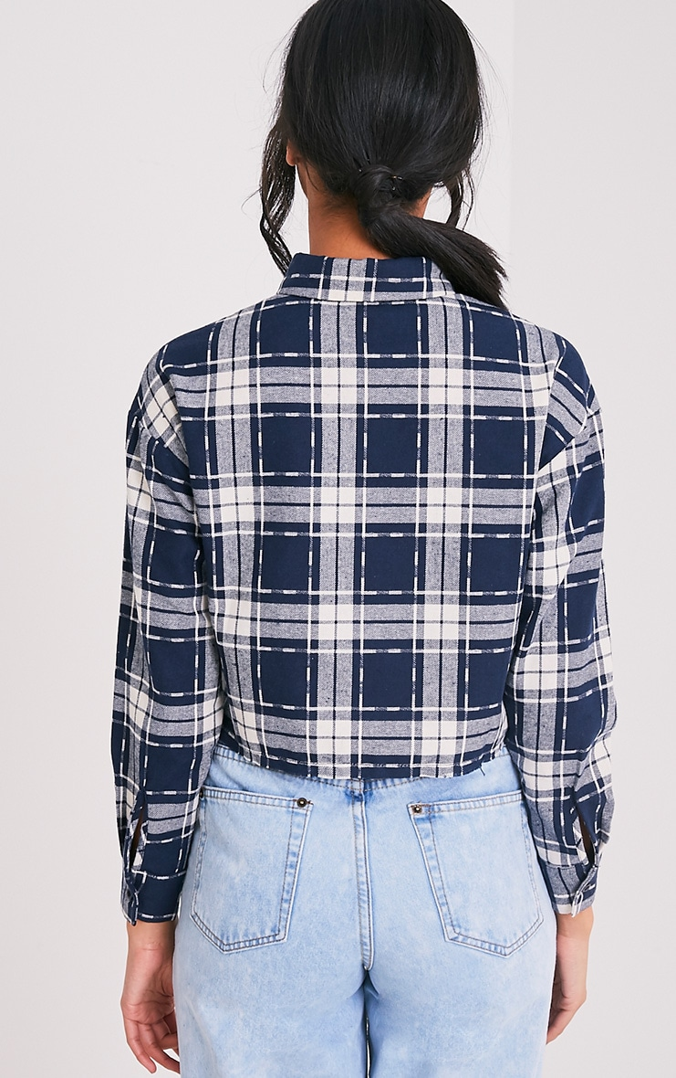 Giselle Navy Checked Raw Hem Cropped Shirt 2