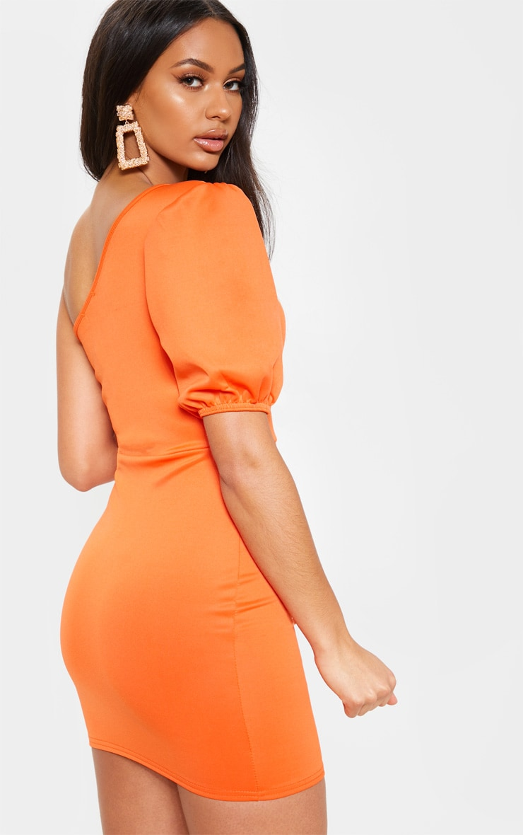 Bright Orange One Shoulder Puff Sleeve Bodycon Dress 2