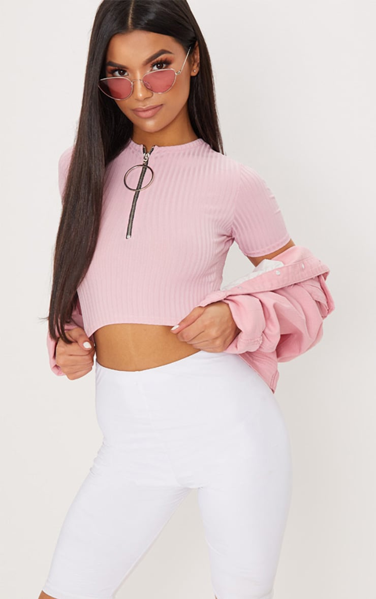 Baby Pink Rib Ring Pull Crop Top 1