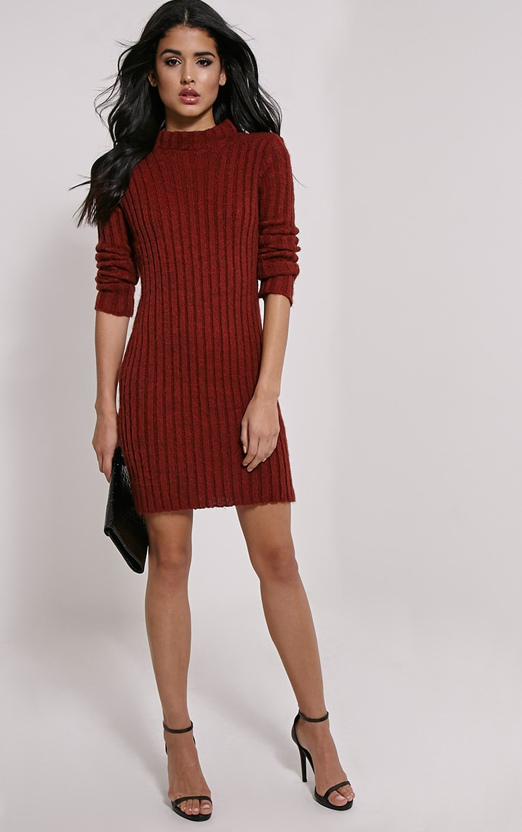 Kirby Rust Marl Long Sleeve Knitted Dress 3
