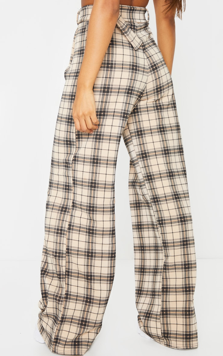 Stone Check Belted Wide Leg Pants 3
