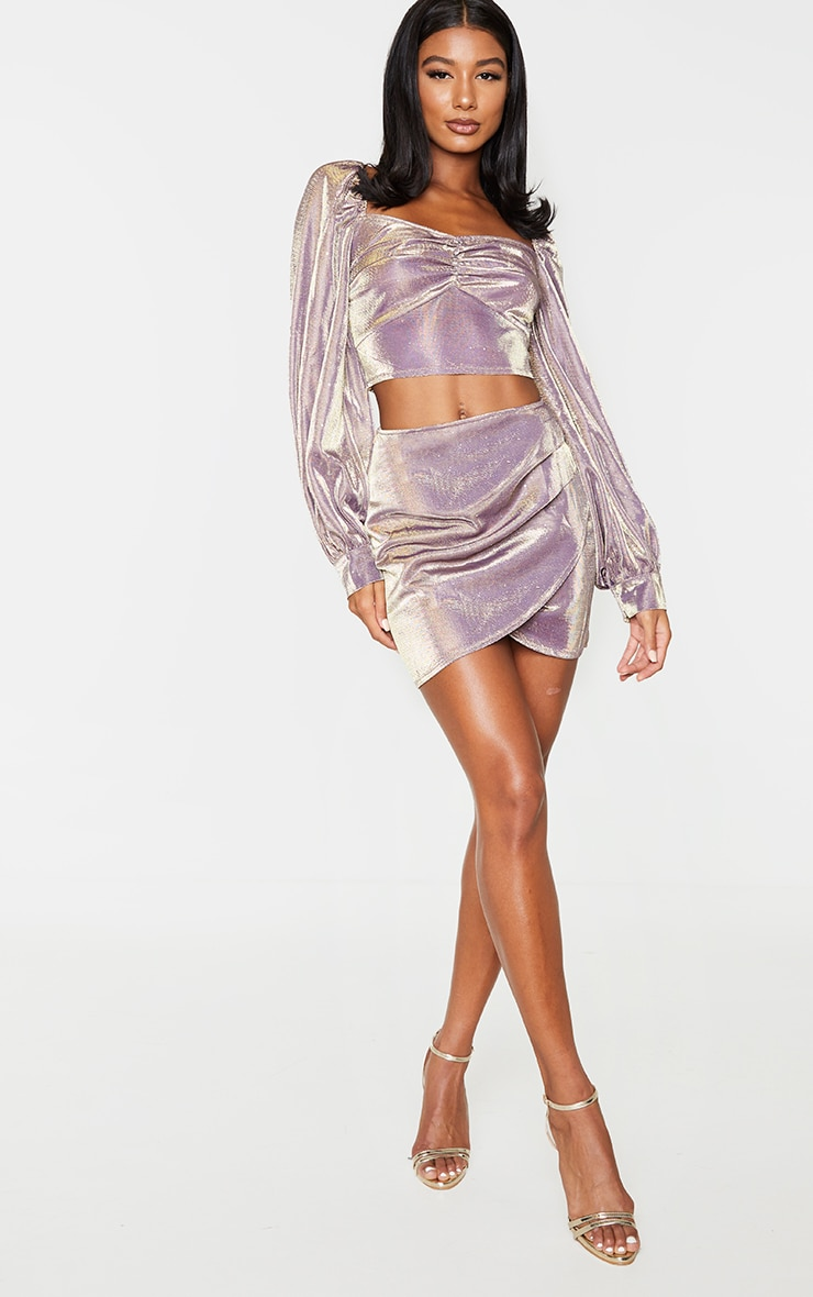 Lilac Textured Glitter Print Woven Panel Front Mini Skirt