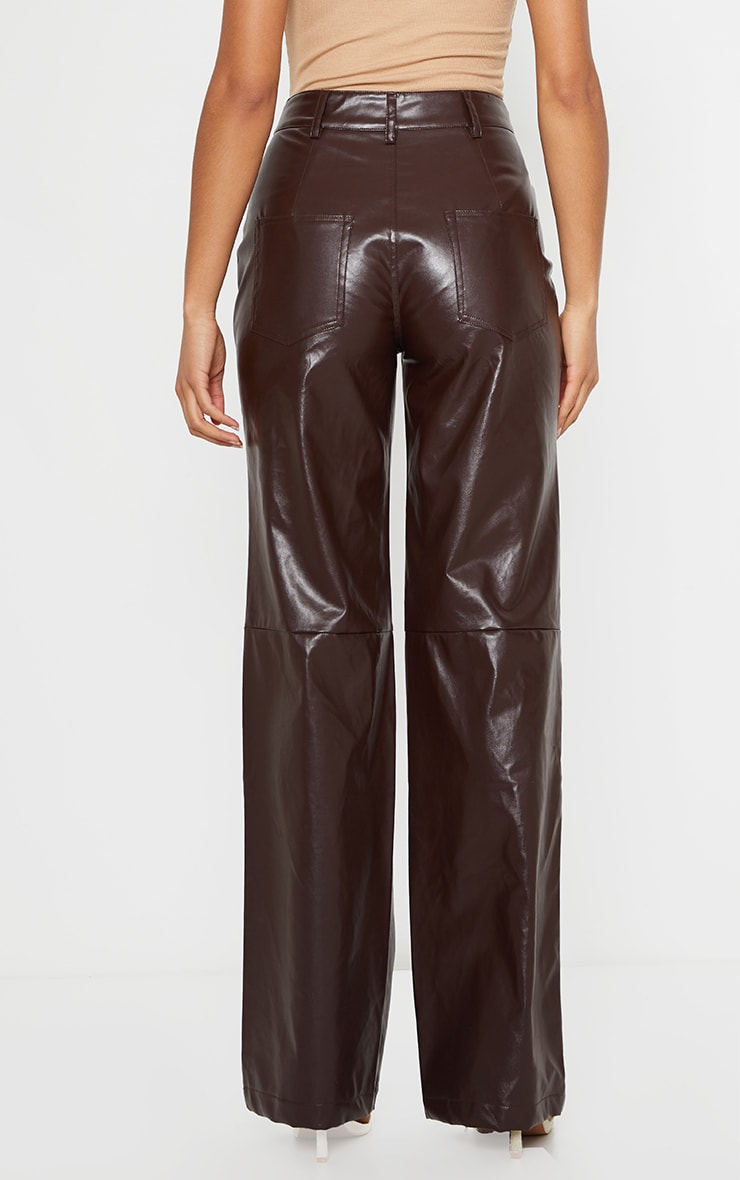 Chocolate Faux Leather Pleat Detail Wide Leg Trousers 3
