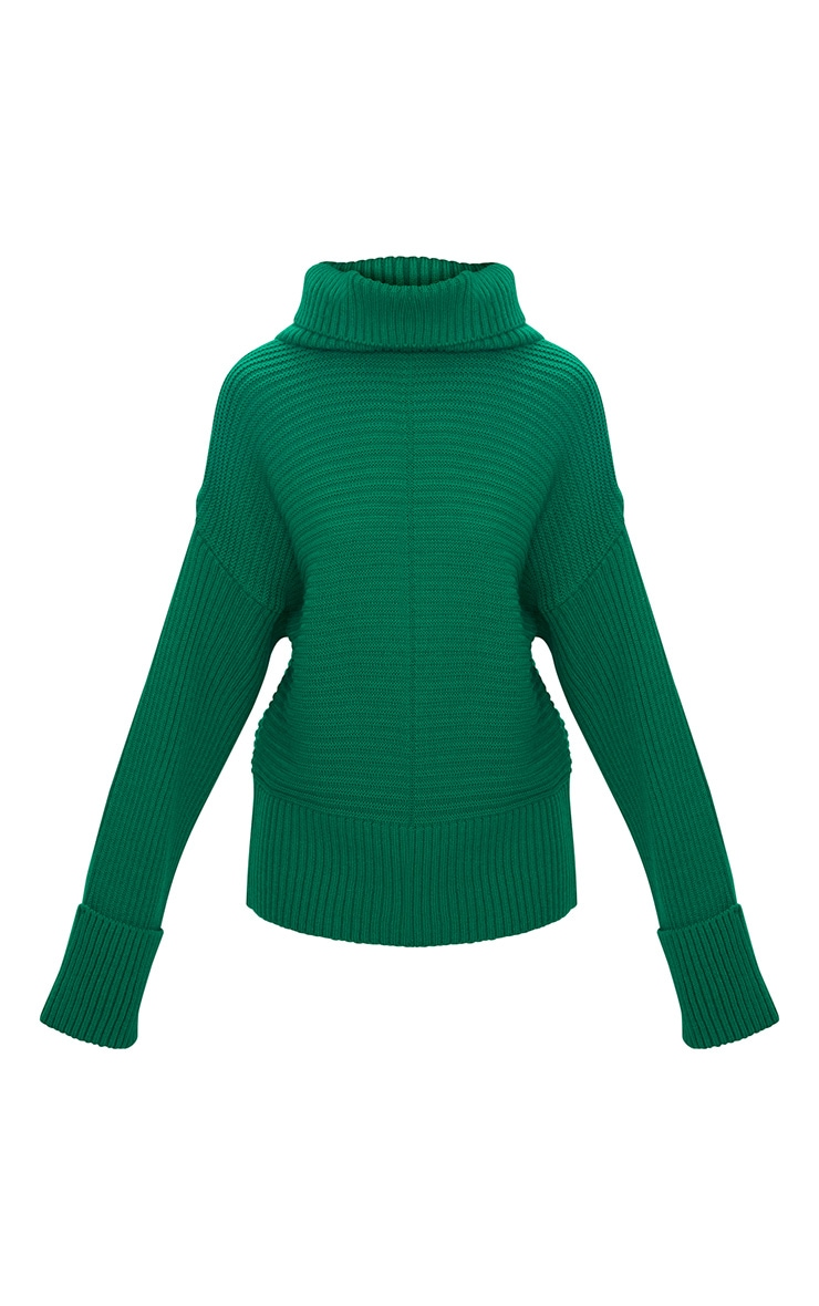 Emerald Green Extreme Sleeve Roll Neck Jumper 3