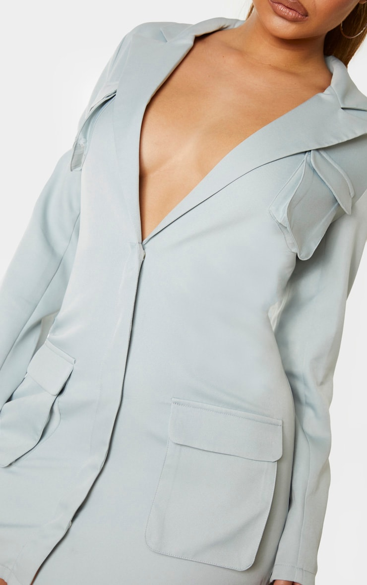 Mint Utility Pocket Detail Long Sleeve Blazer Dress 5