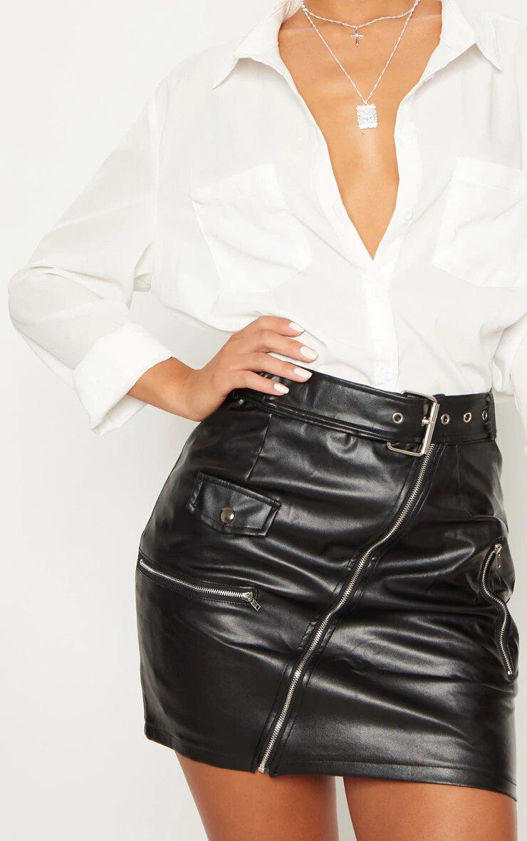 Black Faux Leather Biker Belted Mini Skirt 4