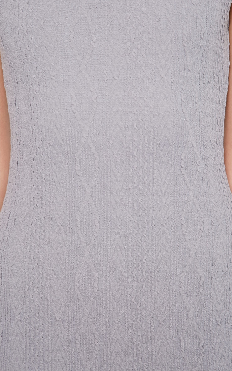 Darcie Grey Cable Knit Textured Sleeveless Dress 5