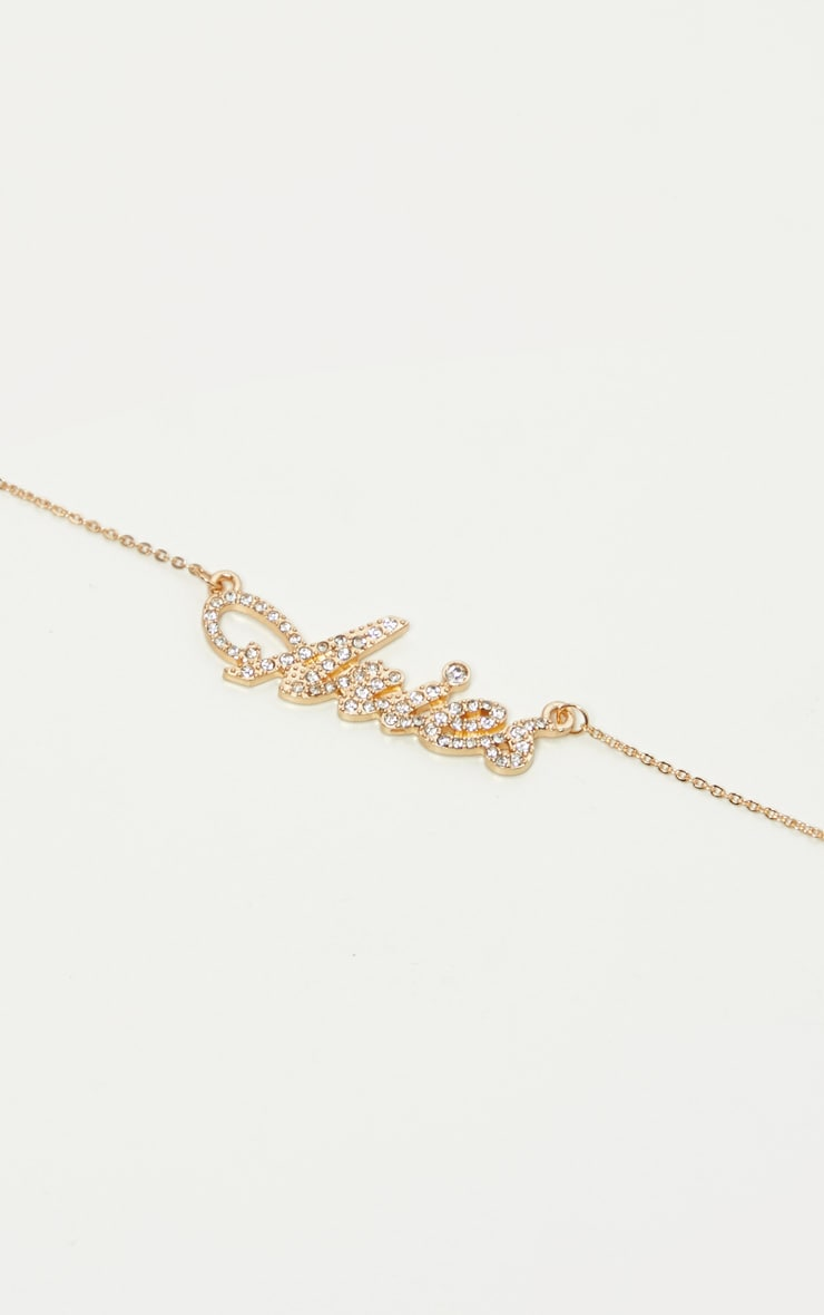 Gold Diamante Aries Star Sign Necklace 3