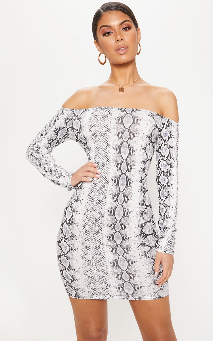 Grey Snake Print Long Sleeve Bardot Bodycon Dress 1