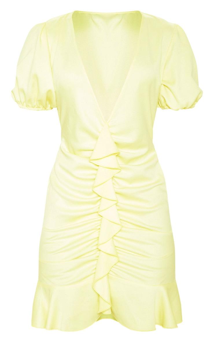 Pastel Lemon Satin Puff Sleeve Frill Bodycon Dress 3