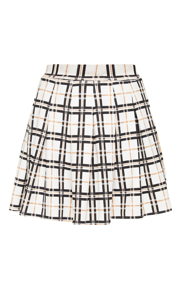 Black Check Tennis Side Split Skirt 3