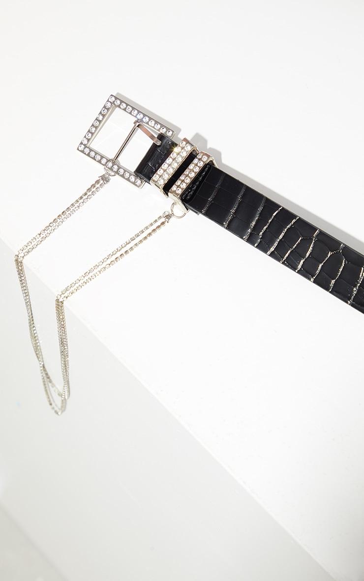 Black PU Snake Silver Diamante Tassel Waist Belt 3
