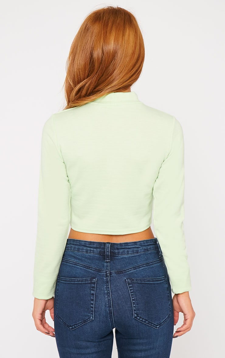 Basic Green Jersey Turtle Neck Crop Top 2
