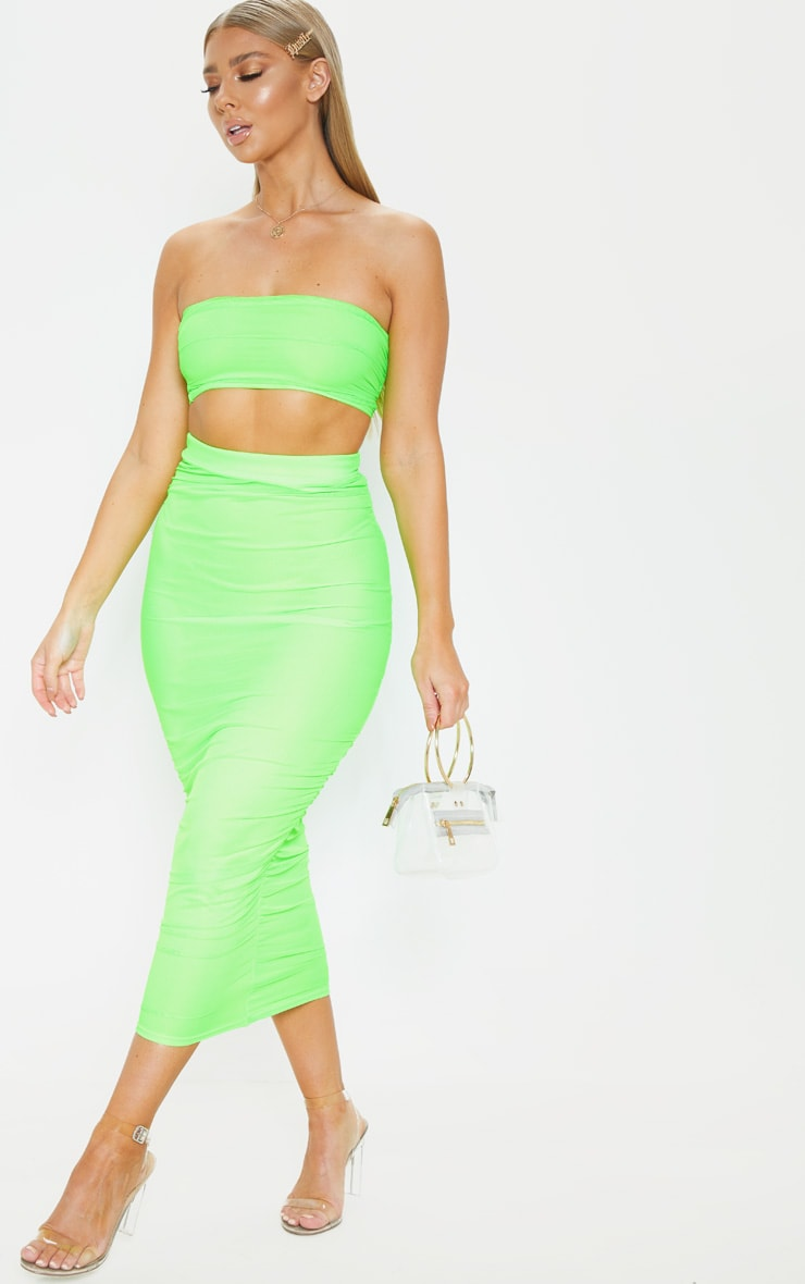 Neon Lime Mesh Ruched Bandeau Crop Top  4