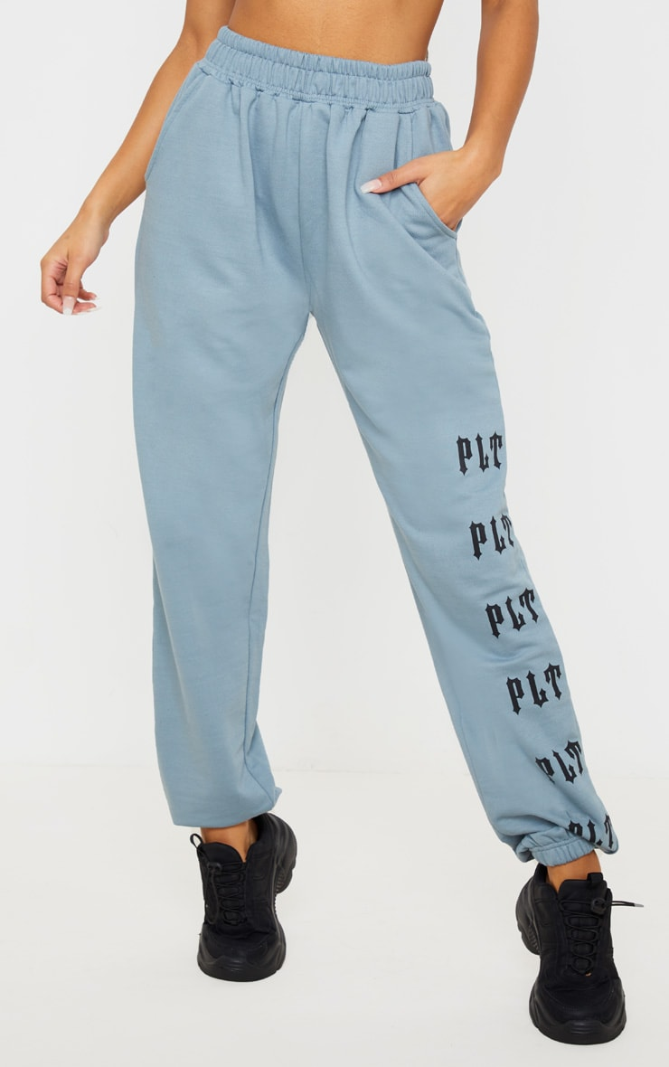PRETTYLITTLETHING Charcoal Casual Slogan Jogger 2