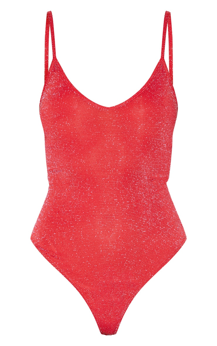 Red Textured Glitter Strappy Bodysuit 4