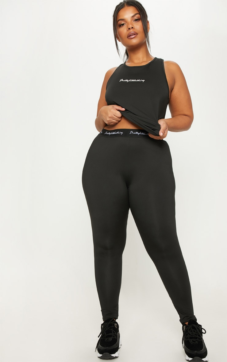 PRETTYLITTLETHING Black Plus Elasticated Band Leggings 1