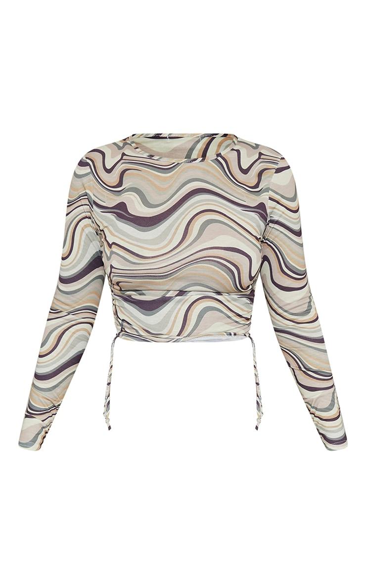 Beige Print Jersey Tie Ruched Side Long Sleeve Crop Top 5
