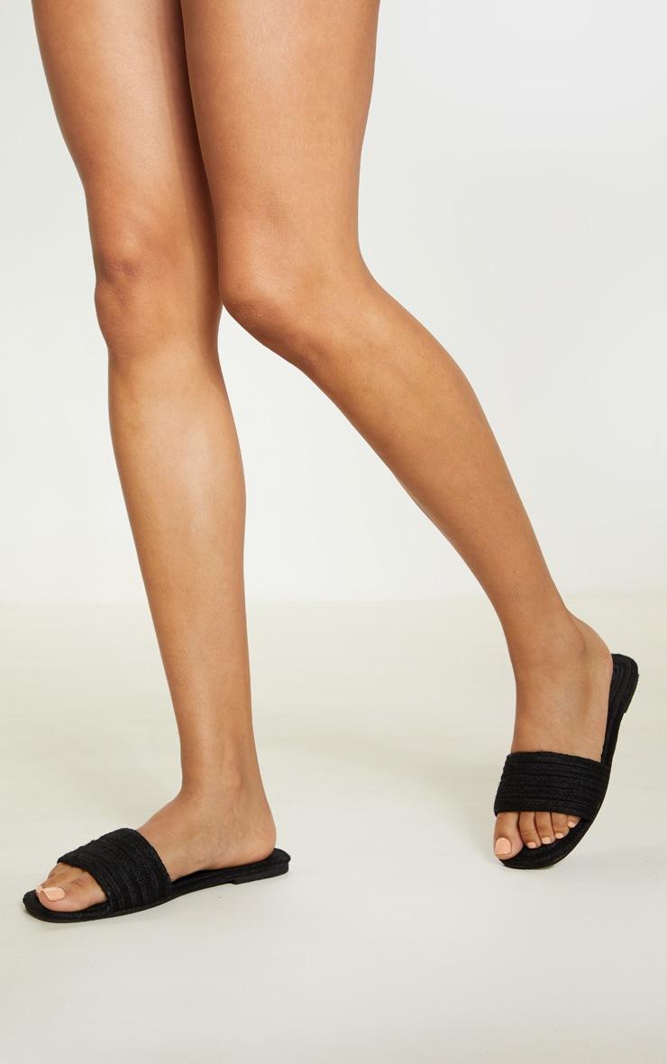Black Espadrille Mule Sandal 2