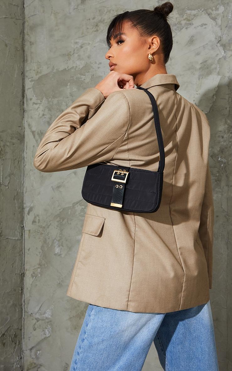 Black Nylon Quilted Front Buckle Shoulder Bag 1