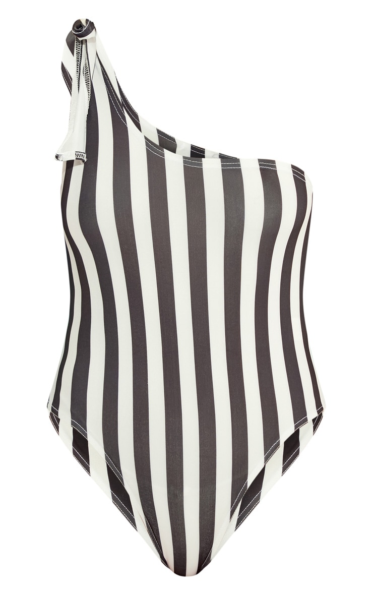 Black/White Striped Tie Shoulder Swimsuit  3