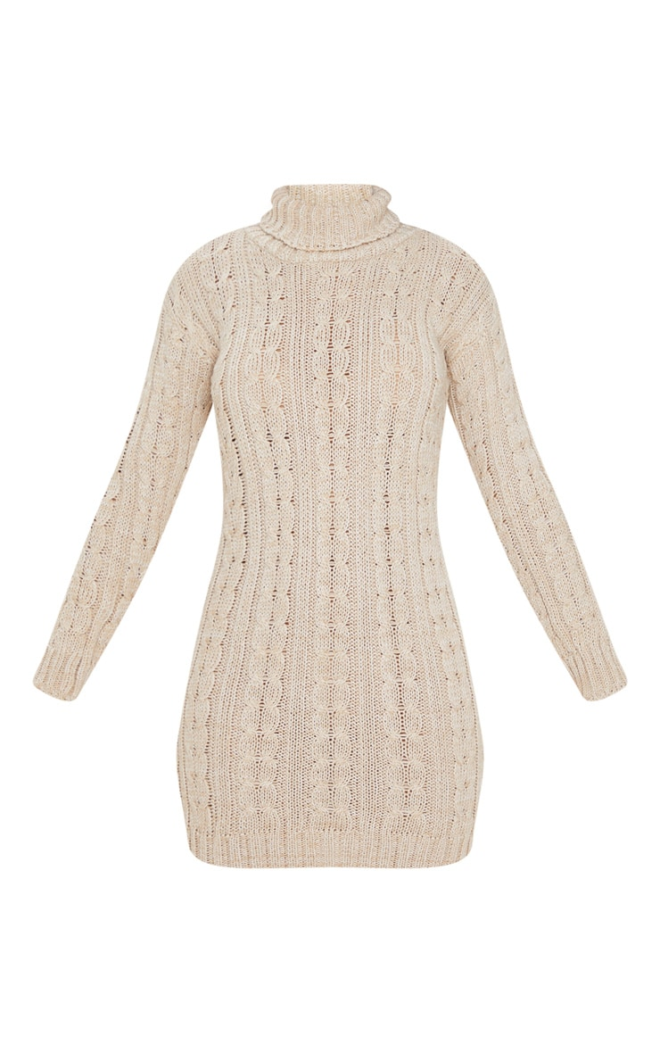 Oatmeal All Over Cable Knit Sweater Dress 3