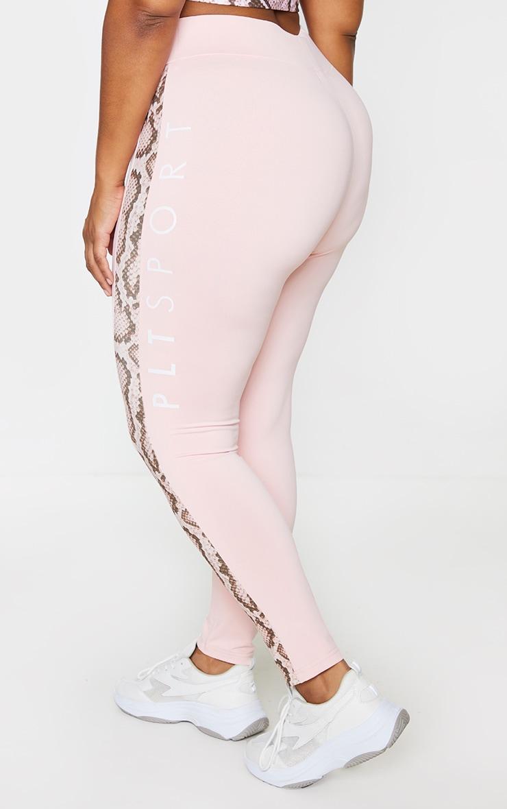 PRETTYLITTLETHING Plus Pink Snake Contrast Leggings 3
