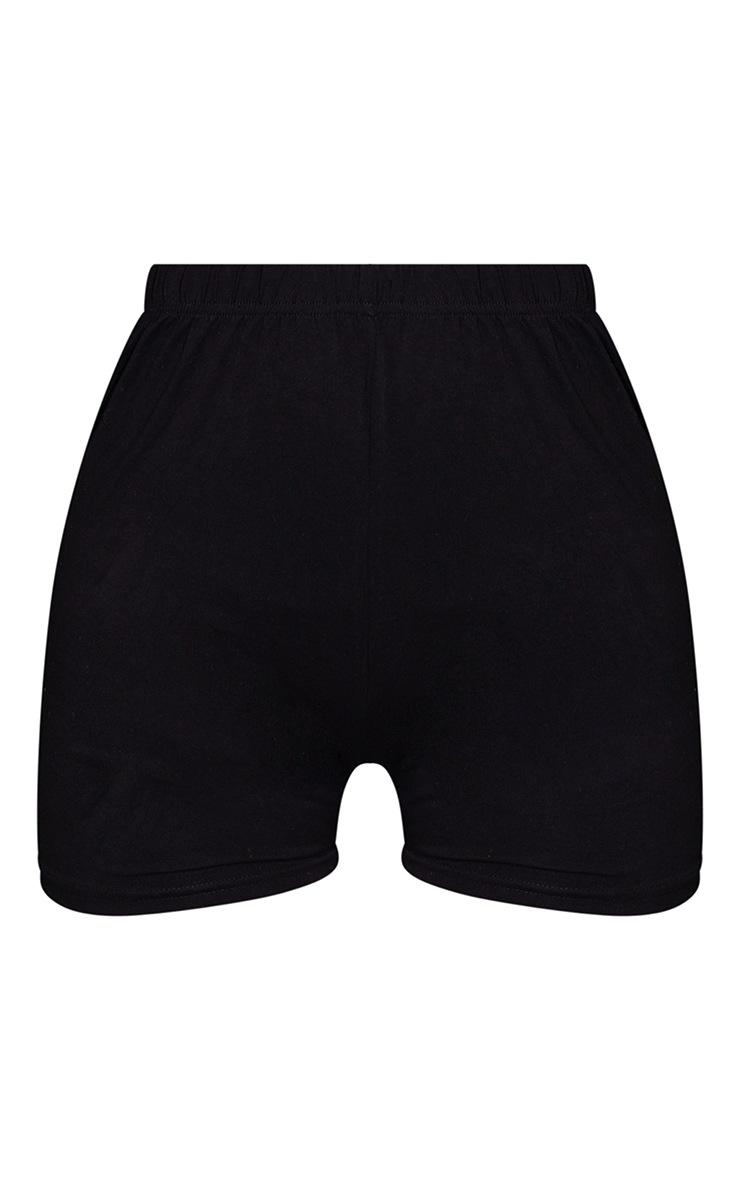 Basic Black Cotton Blend High Waist Hot Pants 6