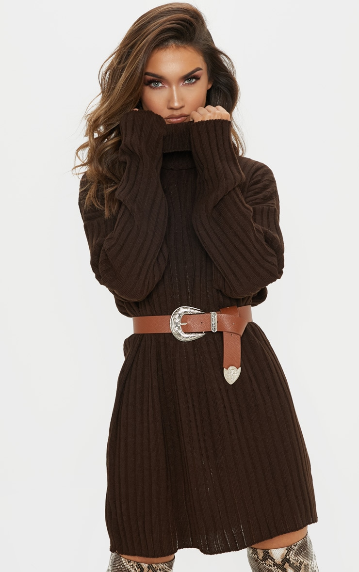 bb043912f1666 Brown High Neck Ribbed Knitted Dress image 1