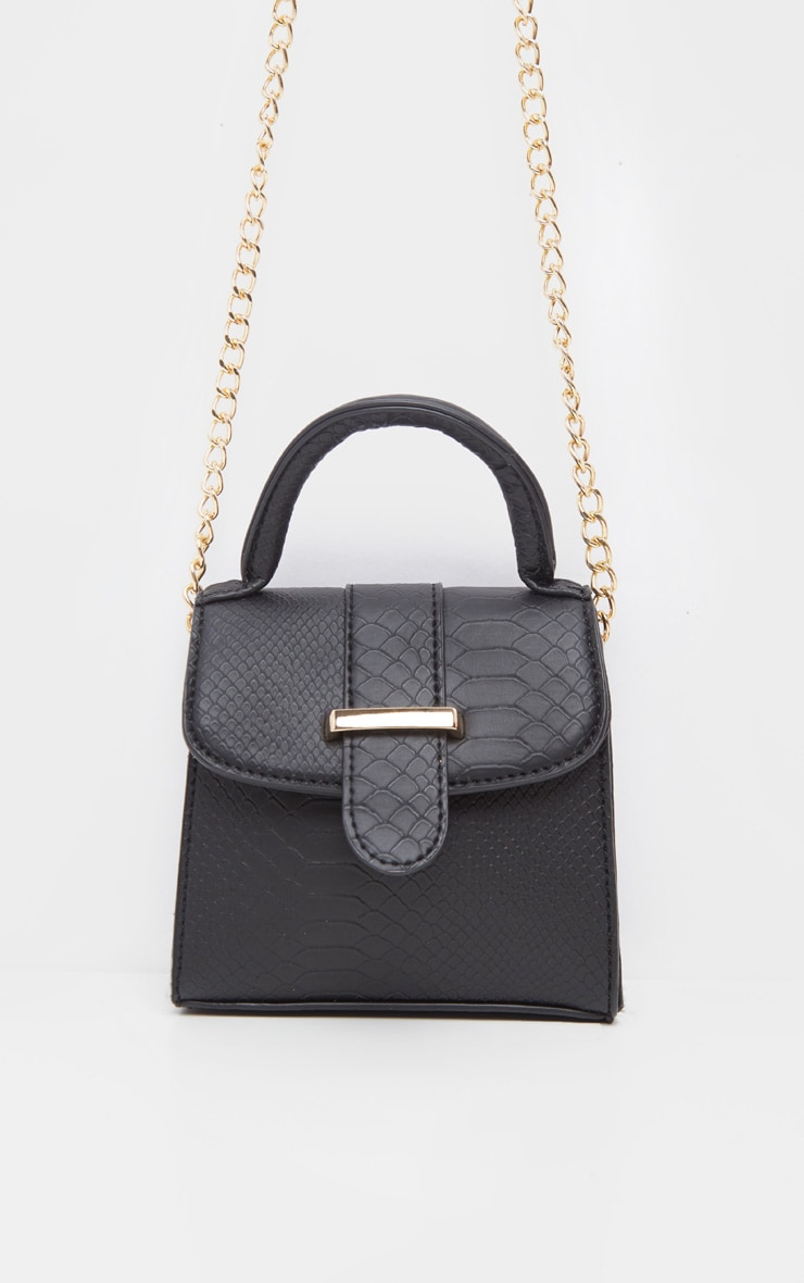 Black Croc One Handle Mini Grab Bag 2